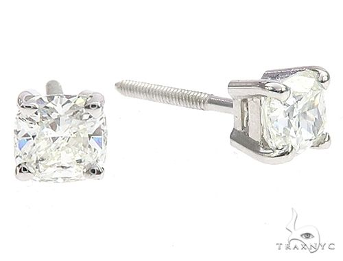 18k White Gold Solitaire Diamond Studs 65005 Stone
