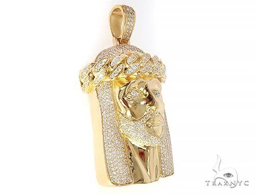 18k Yellow Gold Solid Diamond Jesus Pendant 65101 Metal