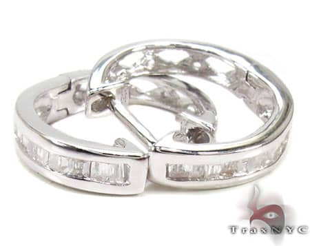 Ladies -Sterling-Silver Diamond Earrings 19049 Stone