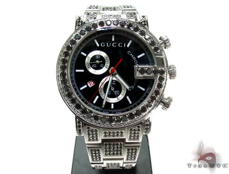 Fully Iced Black Diamond Gucci 101G Chrono YA101309 Gucci