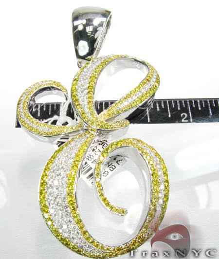 Canary Diamond Initial E Pendant 1920 Metal