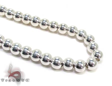 Silver Bead n 30 Inches, 7mm, 80.6 Grams Silver