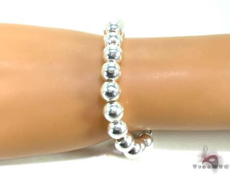 Silver Bead Bracelet Silver & Stainless Steel