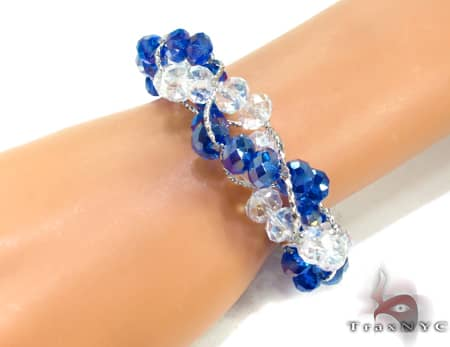 Blue Crystal Bead Bracelet Gemstone & Pearl