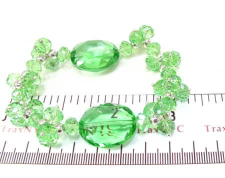 Green Crystal Bead Bracelet Gemstone & Pearl