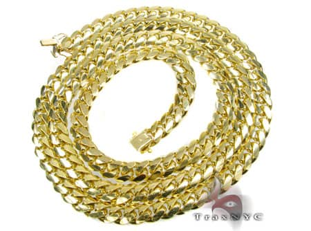 10K Solid Yellow Gold Miami Chain 36 Inches 8mm 158 Grams Gold