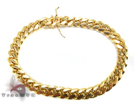 Yellow Gold Miami Bracelet 9 Inches 8mm 40.9 Grams Gold