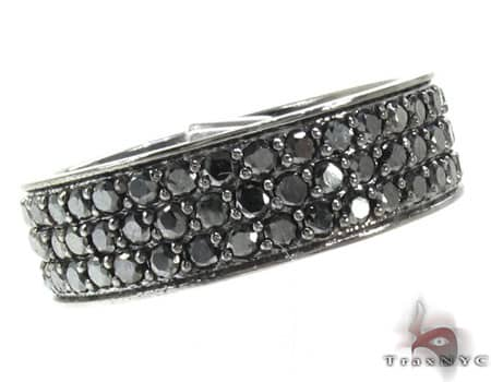 3 Row Black Diamond Ring Stone