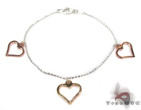 Ladies Silver Heart Charm Bracelet 19608 Silver & Stainless Steel