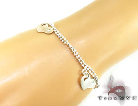 Ladies Silver Heart Charm Bracelet 19609 Silver & Stainless Steel