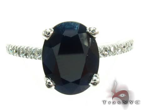 Ladies Black Sapphire Ring Anniversary/Fashion
