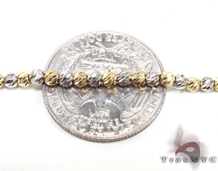 Two Tone Moon Cut Chain 24 Inches 2.5mm 15.4 Grams Gold