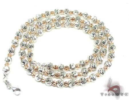 Two Tone Moon Cut Chain 20 Inches 4mm 19.9 Grams Gold