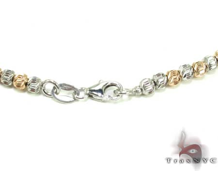 Two Tone Moon Cut Chain 20 Inches 2mm 12.1 Grams Gold
