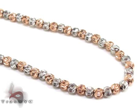 Two Tone Moon Cut Chain 18 Inches 2mm 10.8 Grams Gold