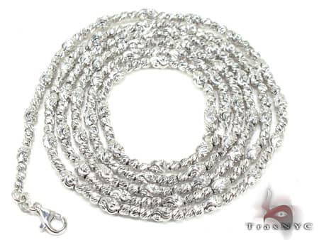 Thin Moon Cut Chain 24 Inches 2mm 12.7 Grams Gold