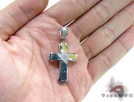 Small Tri Color Aristocrat Cross Crucifix 2 Diamond