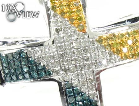 Small Tri Color Aristocrat Cross Crucifix 2 Diamond