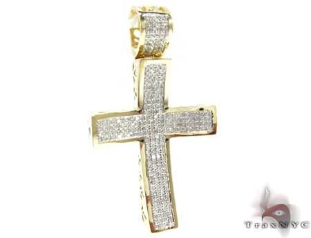Small Yellow Gold Concave Cross Diamond