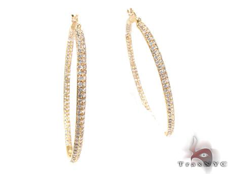 2 Row Diamond Hoop Earrings 26122 Style