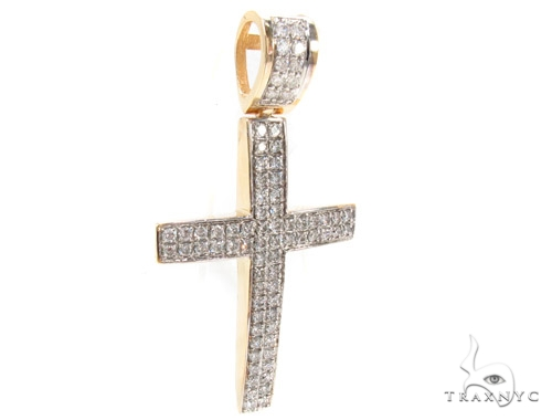 2 Row Pave Diamond Cross Crucifix Diamond