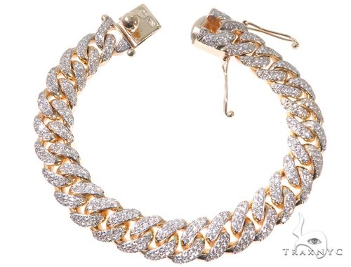 2 Row Pave Diamond Miami Cuban Link Bracelet Diamond
