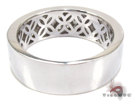 2 Row White Gold Round Cut Prong Diamond Wedding Ring 25181 Stone