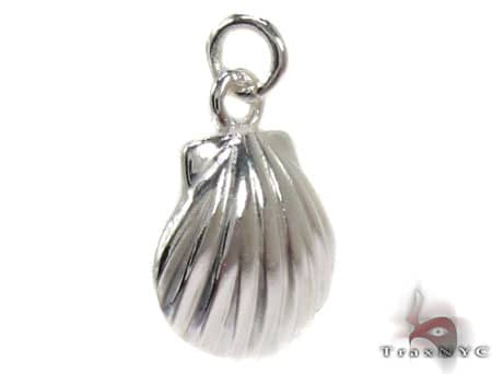 Small Sterling Silver Shell Pendant Metal