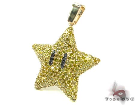 Super Mario Bros Star Yellow Color Diamond Pendant 20121 Metal