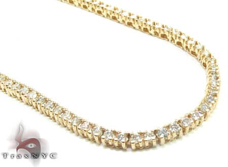 Yellow Gold Diamond Chain 40 Inches, 3mm, 60 Grams Diamond