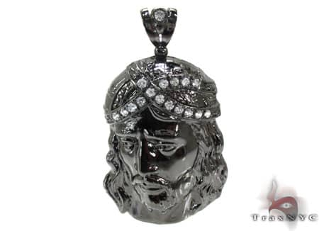 Black Silver Jesus Pendant 20233 Metal