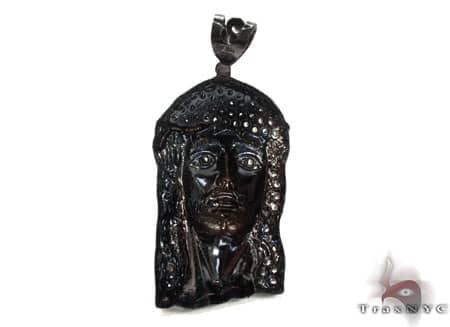Black Silver Jesus Pendant 20235 Metal