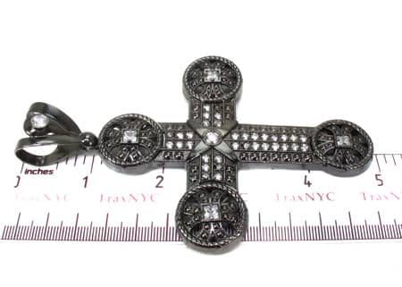 Black Silver Cross Crucifix 20242 Silver