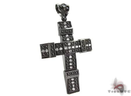 Black Silver Cross Crucifix 20243 Silver