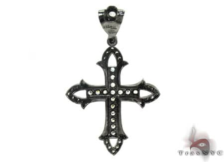 Black Silver Cross Crucifix 20252 Silver