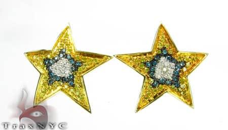 Hip Hop Jewelry - 3 Tone Star Earrings Stone