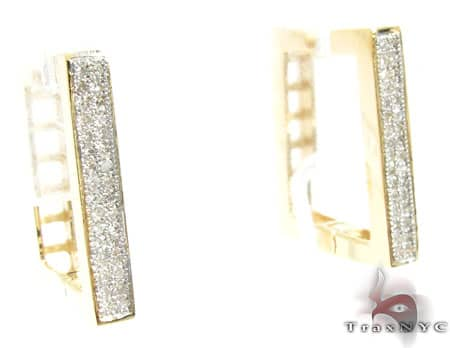 Mini Square Hoop Earrings Stone