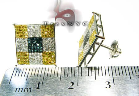 Multi Color Checkered Earrings Stone