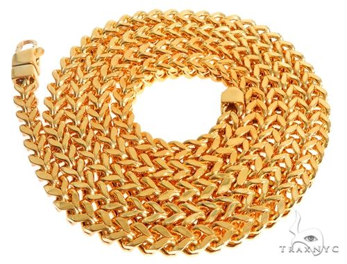 22K Yellow Gold Hollow Franco Link Chain 22 Inches 5.5mm 52.4 Grams 63923 Gold