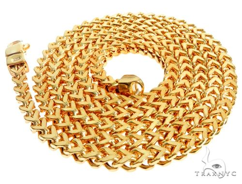 22K Yellow Gold Hollow Franco Link Chain 26 Inches 4.5mm 39.9 Grams 63929 Gold