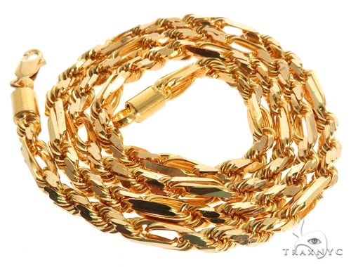 22k Yellow Gold Fancy Link Rope 20 Inches 4.0mm 49.7 Grams 64454 Gold