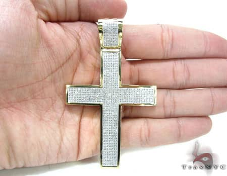 Yellow Gold XL Pave 14K Cross Diamond
