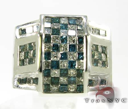 Deep Blue Checkered Ring Stone