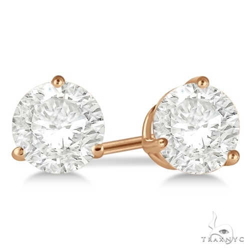 3-Prong Martini Diamond Stud Earrings 18kt Rose Gold H, SI1-SI2 Stone