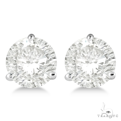 3-Prong Martini Diamond Stud Earrings 18kt White Gold G-H, VS2-SI1 Stone