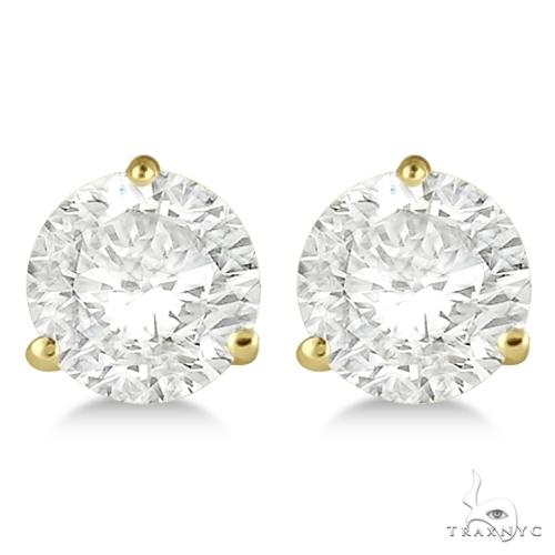 3-Prong Martini Diamond Stud Earrings 18kt Yellow Gold H, SI1-SI2 Stone