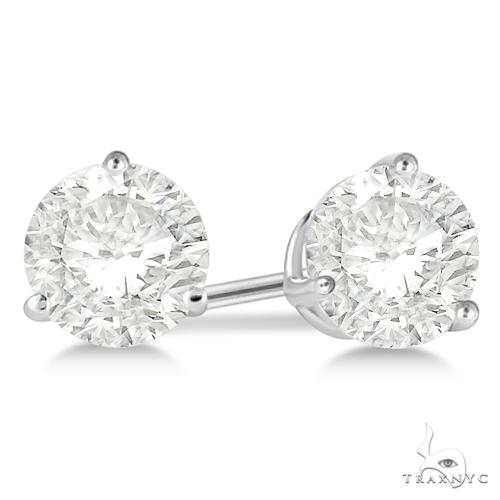 3-Prong Martini Diamond Stud Earrings Palladium H, SI1-SI2 Stone