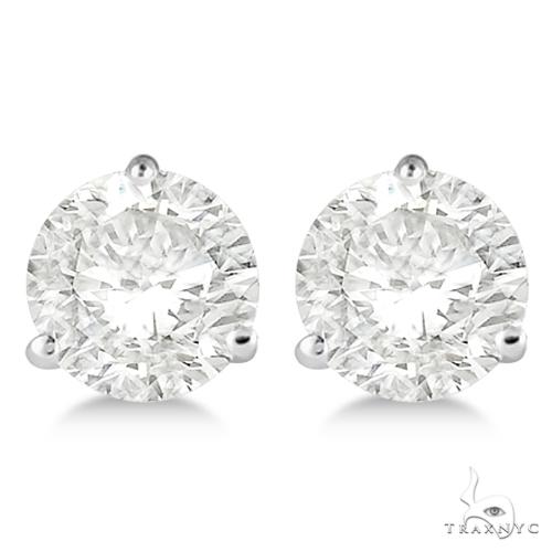 3-Prong Martini Diamond Stud Earrings Platinum H, SI1-SI2 Stone