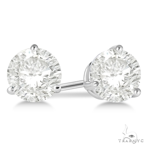 3-Prong Martini Diamond Stud Earrings Platinum H-I, SI2-SI3 Stone