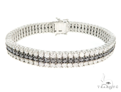 3 Row Black and White Diamond Paulie Bracelet Diamond